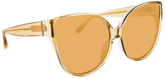 03883115bb5d Linda Farrow Semitransparent Acetate Mirrored Cat-Eye Sunglasses
