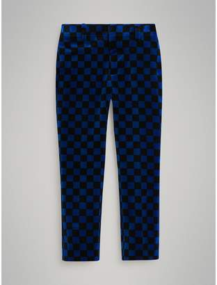 Burberry Chequer Stretch Velvet Trousers , Size: 8Y, Blue