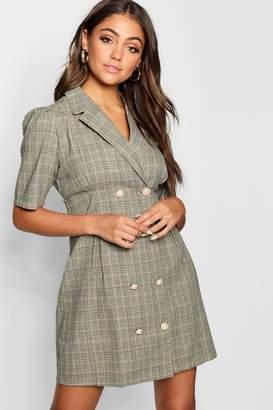 boohoo Pearl Button Checked Tailored Blazer Dress