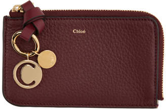 Chloé Burgundy Alphabet Zip Card Holder