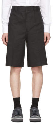 Lanvin Black Embroidered Logo Chino Shorts