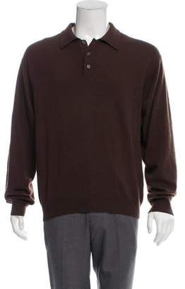 Barneys New York Barney's New York Cashmere Long Sleeve Polo Shirt