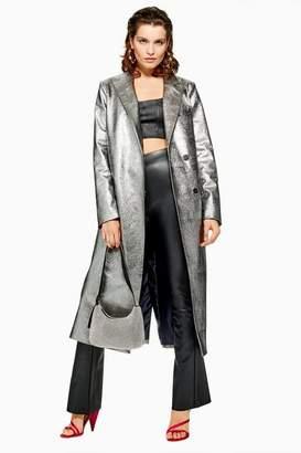 Topshop Silver Textured Coat