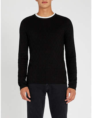 HUGO Diamond-textured stretch-knit jumper