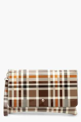 boohoo All Over Patent Check Oversized Clutch