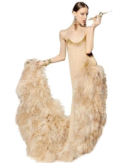 DSquared Ostrich Swarovski Silk Georgette Dress