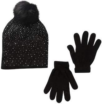 CURLS & PEARLS Faux Fur Pompom Embellished Hat & Glove Set