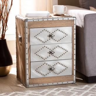 Baxton Studio Audric French Industrial Brown Wood and Silver Metal 3-Drawer Accent Chest