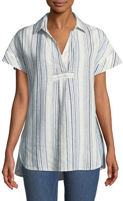 Neiman Marcus Striped-Linen Short-Sleeve Tunic