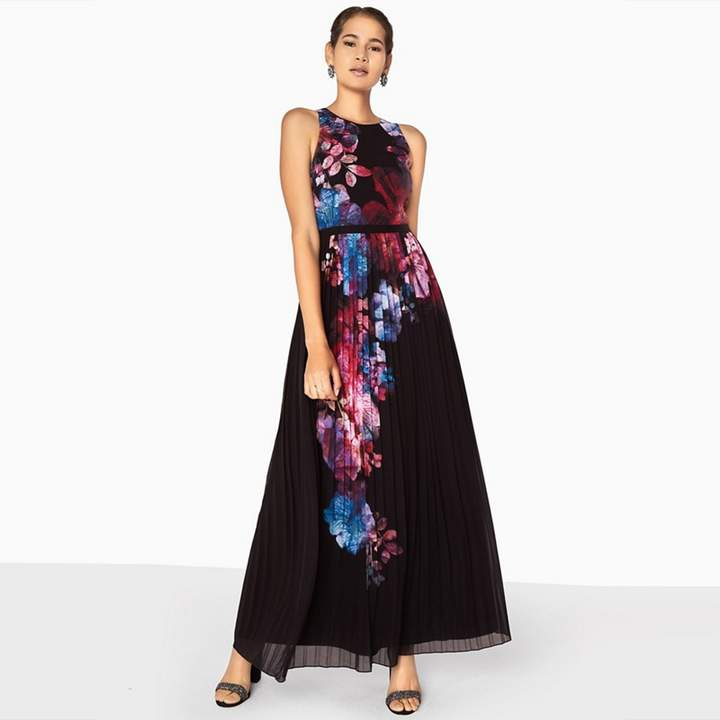 Multicoloured Aurora Placement Print Maxi Dress