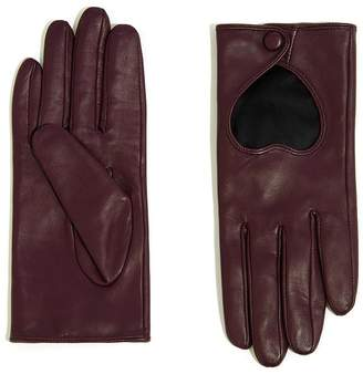Warehouse Leather Heart Gloves - Berry