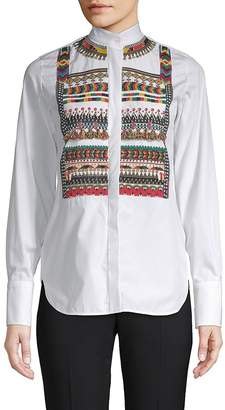 Valentino Women's Aztec Cotton Button-Down Shirt