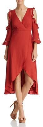 Aqua Cold-Shoulder Faux-Wrap Midi Dress - 100% Exclusive