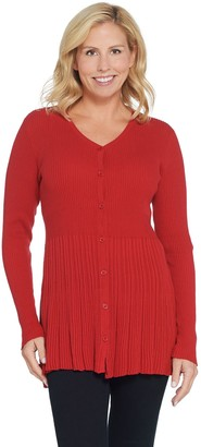 Joan Rivers Classics Collection Joan Rivers Button Front Cardigan with Pleats