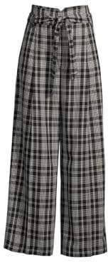 Max Mara Women's Cina Plaid Wide Leg Trousers - Black - Size 8
