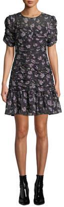 Shoshanna Kayleigh Floral Silk Ruched Dress