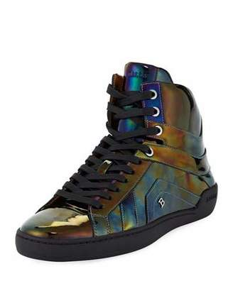Bally Men's Eticon Petrol Patent Leather High-Top Sneakers