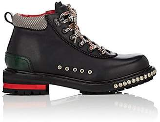 Alexander McQueen Men's Leather Studded Hiking Boots - Black