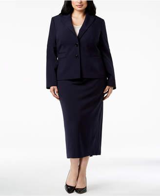 Le Suit Plus Size Two-Button Midi Skirt Suit
