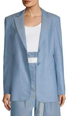 Tibi Cut Out Pleated Wool Blazer