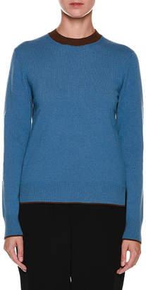 Marni Contrast Crewneck Long-Sleeve Cashmere Sweater