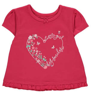 George Red Heart Little Girls Big Smiles Slogan T-Shirt