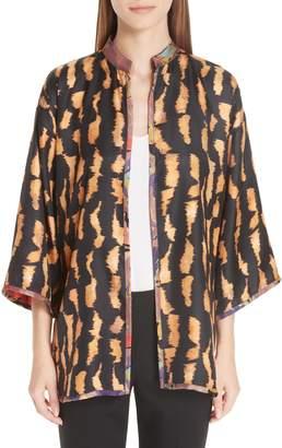 Etro Kesa Reversible Tiger & Floral Print Topper