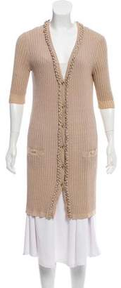 Chanel Rib Knit Longline Cardigan
