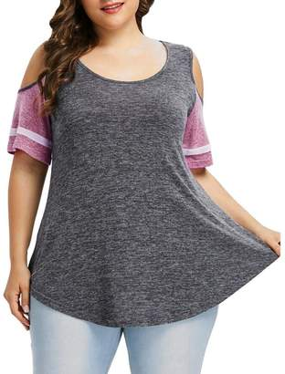 f57e17a5bad ASTV Women Plus Size Off Shoulder Blouse Tops Patchwork Loose T Shirt