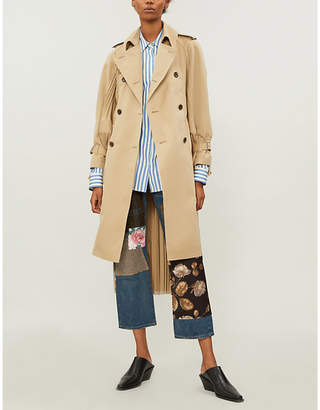 Junya Watanabe Plissé panelled cotton-blend trench coat