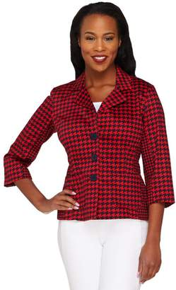 Joan Rivers Classics Collection Joan Rivers Houndstooth Jacket with 3/4 Sleeve