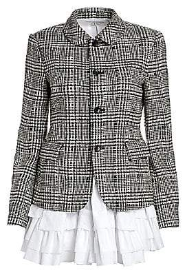 Comme des Garcons Women's Glen Check Wool Ruched Jacket
