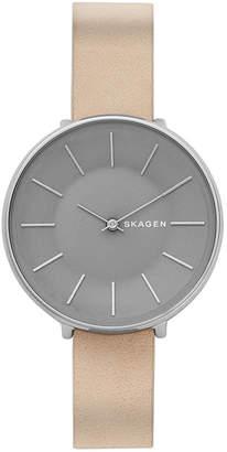 Skagen Women's Karolina Nude Leather Strap Watch 38mm
