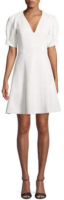 Rebecca Taylor Short-Sleeve Stretch-Texture Dress