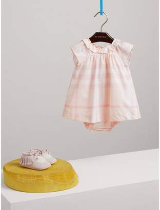 Burberry Ruffle Detail Check Cotton Poplin Dress with Bloomers