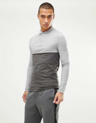 Asos DESIGN muscle fit polo shirt with contrast yoke in charcoal marl