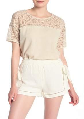 Moon River Embroidered Short Sleeve Linen Blend Top