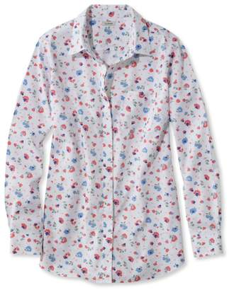 L.L. Bean L.L.Bean Wrinkle-Free Pinpoint Oxford Tunic, Long-Sleeve Slightly Fitted Floral