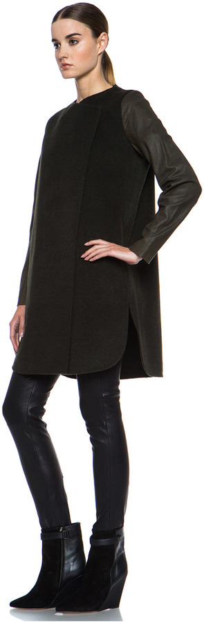 Vince Wool Coat with Leather Sleeves in Heather Moss
