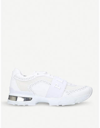 Philipp Plein Akoya brogue-detail leather and mesh trainers