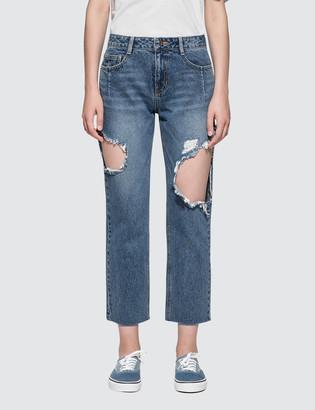 Sjyp Side Cut Off Jeans
