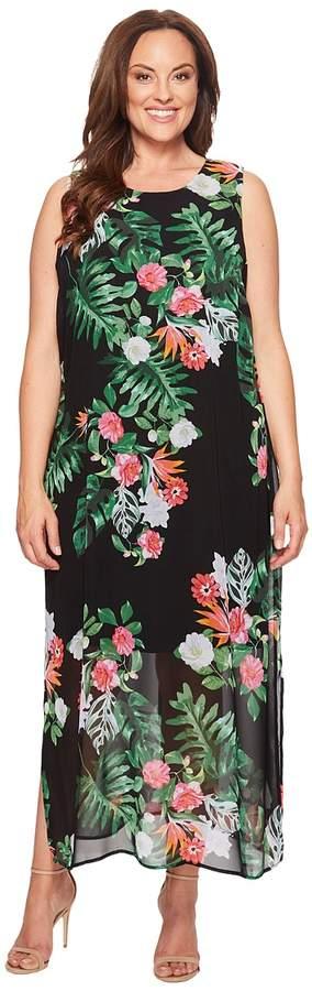 Specialty Size Plus Size Sleeveless Havana Tropical Maxi Dress w/ Slits Women's Dress