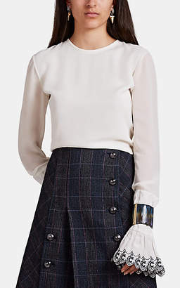 Chloé Women's Ruffled-Cuff Embroidered Silk Blouse - White