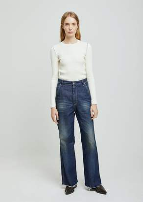 "MM6 MAISON MARGIELA Dark ""Garage"" Wash Denim Wide Leg"