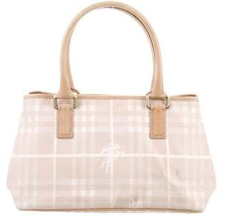 Burberry Leather-Trimmed Check Tote