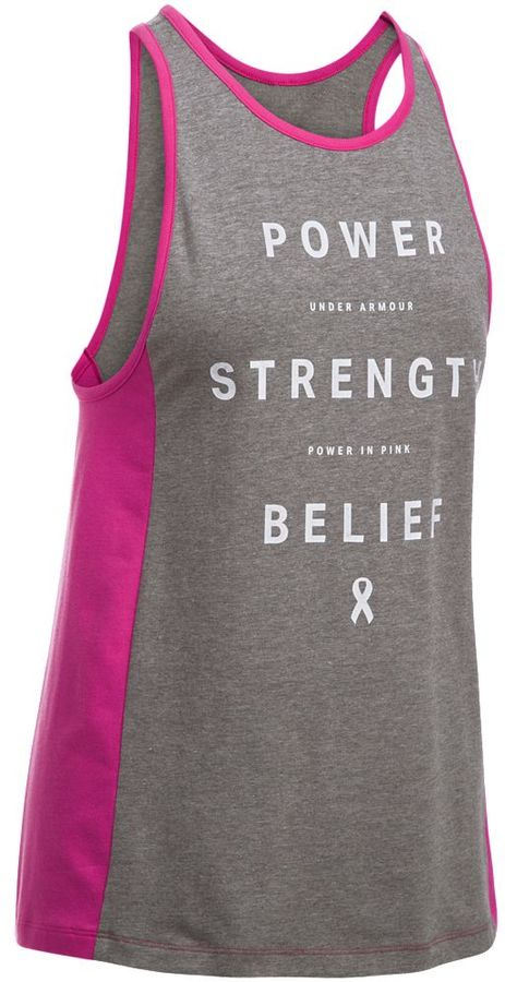"Women's Under Armour Power In Pink ""Power Strength Belief"" Graphic Tank"