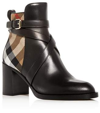 Burberry Women's Vaughan Vintage Check & Leather Block Heel Booties