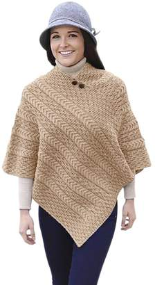 Carraigdonn Carraig Donn Ladies Merino Wool Plaited Poncho Sweater
