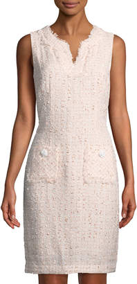 Karl Lagerfeld Paris Check Tweed Sleeveless Sheath Dress