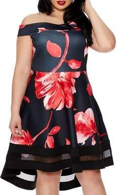 Bardot QUIZ CURVE Plus Floral-Print Dip Hem Fit-&-Flare Dress